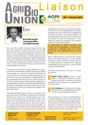 Agribio Union – Liaison N°1 – Février 2016