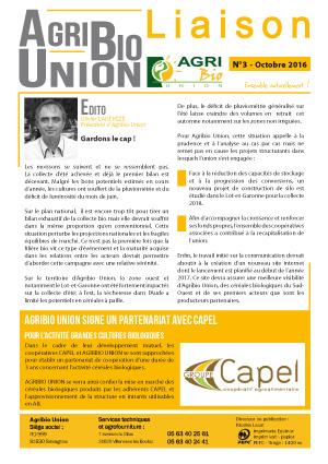 Agribio Union – Liaison N°3 – Octobre 2016