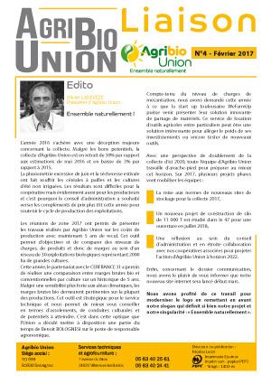 Agribio Union – Liaison N°4 – Février 2017