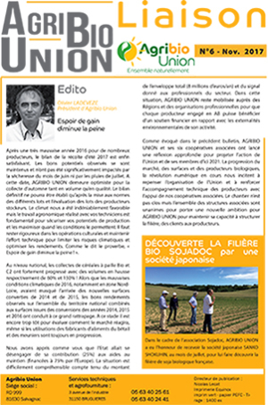 Agribio Union – Liaison N°6 – Novembre 2017